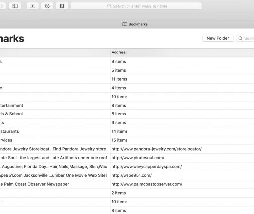 Safari Bookmarks on Mac