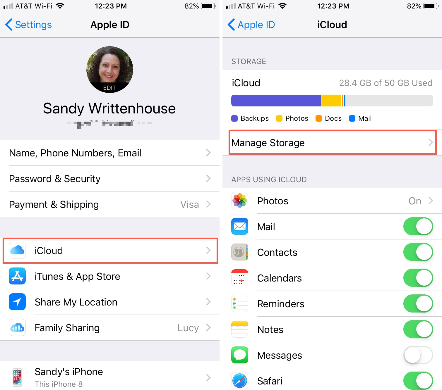 Settings iCloud Manage Storage on iPhone