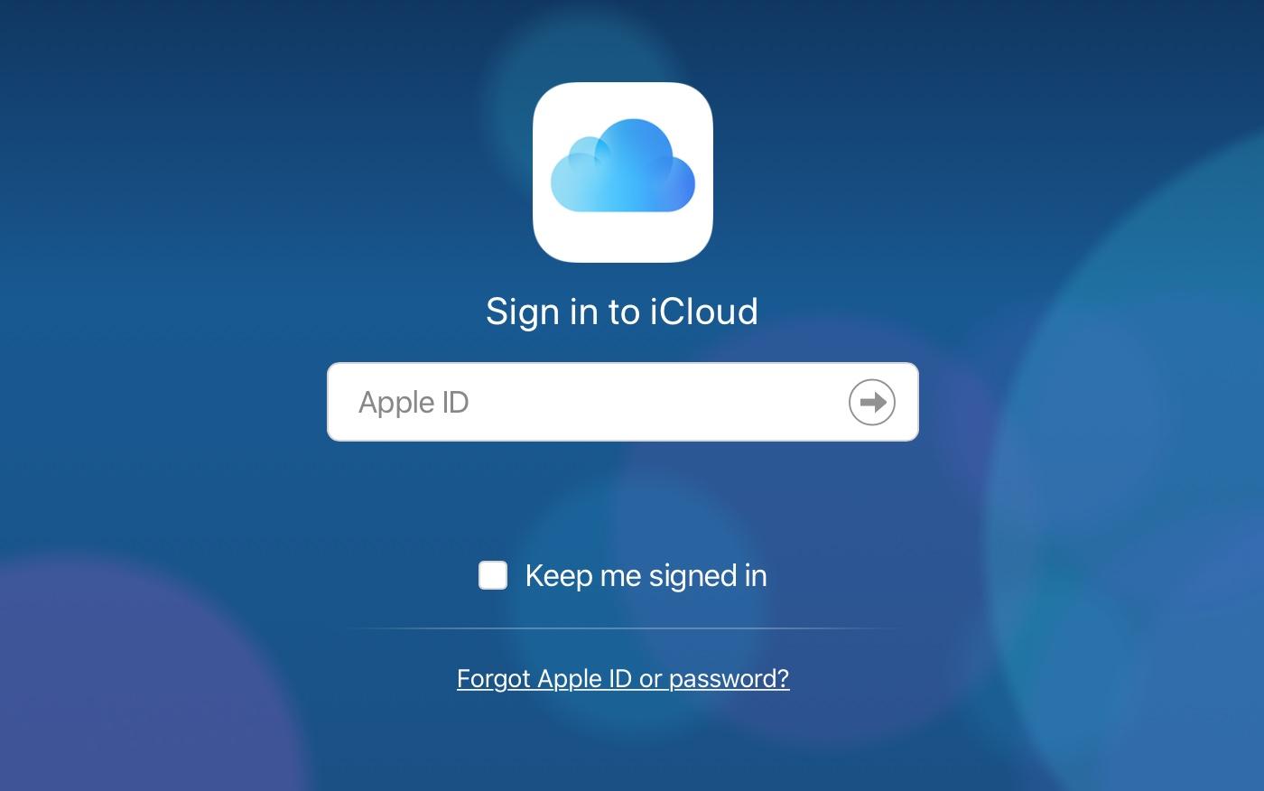 iCloud Login Screen Web