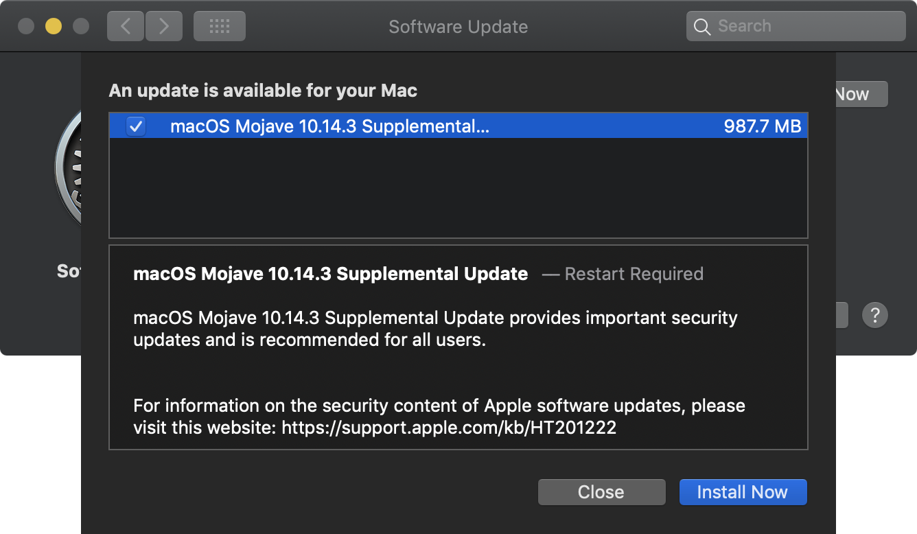 macOS Mojave 10 14 3 Supplemental Update re-enables group