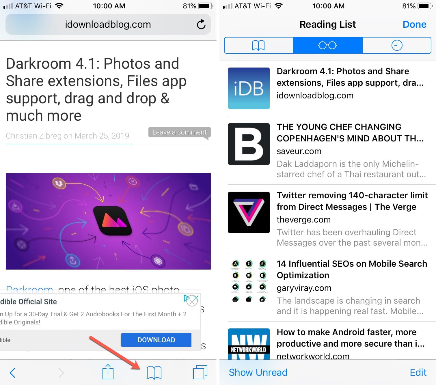 Acceda a la lista de lectura de Safari fuera de línea del iPhone