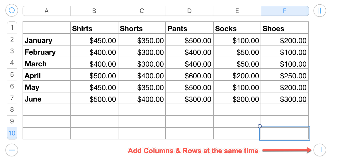 Add Columns and Rows Same Time in Numbers on Mac