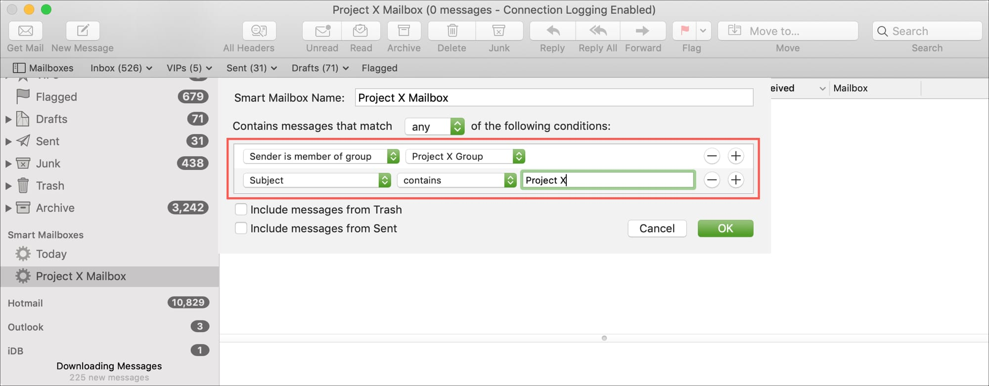 Add Conditions Smart Mailbox in Mail on Mac