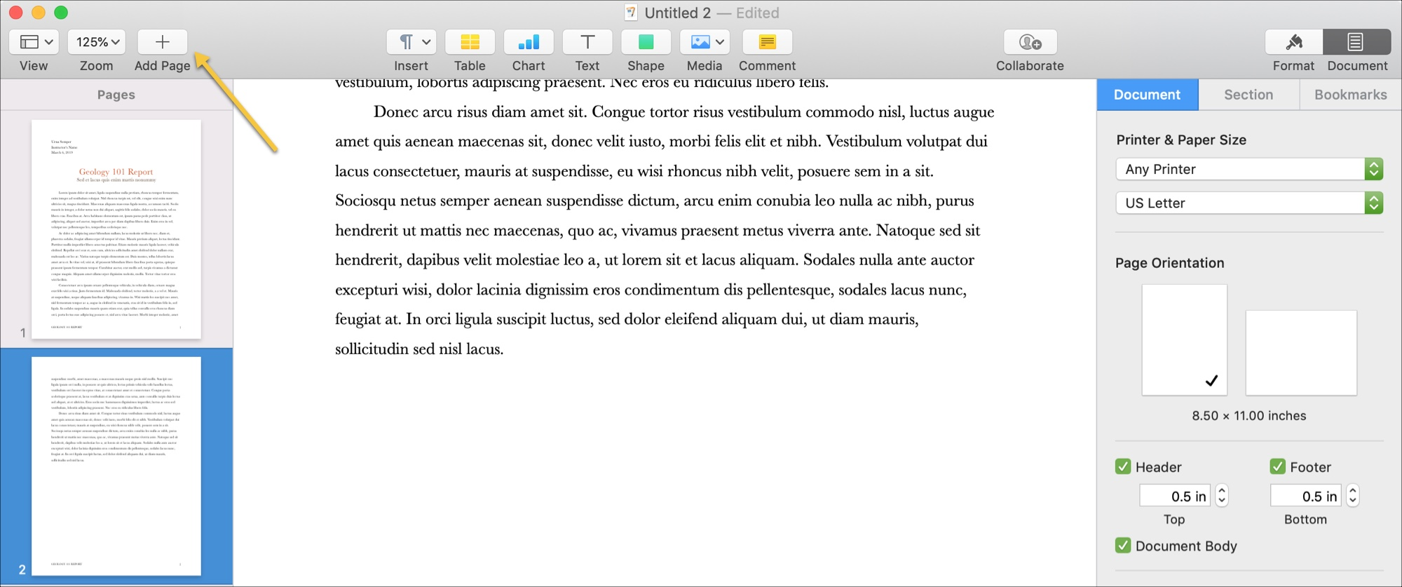 Add Pages Word Processing doc Mac