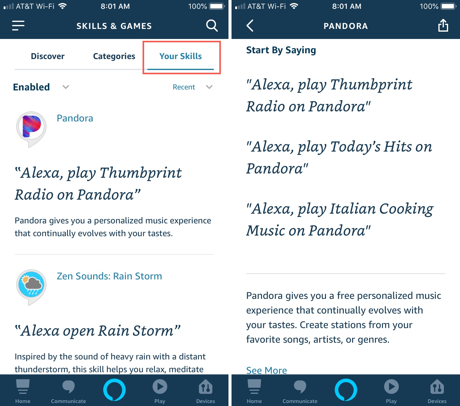 Alexa Your Skills Music Services iPhone