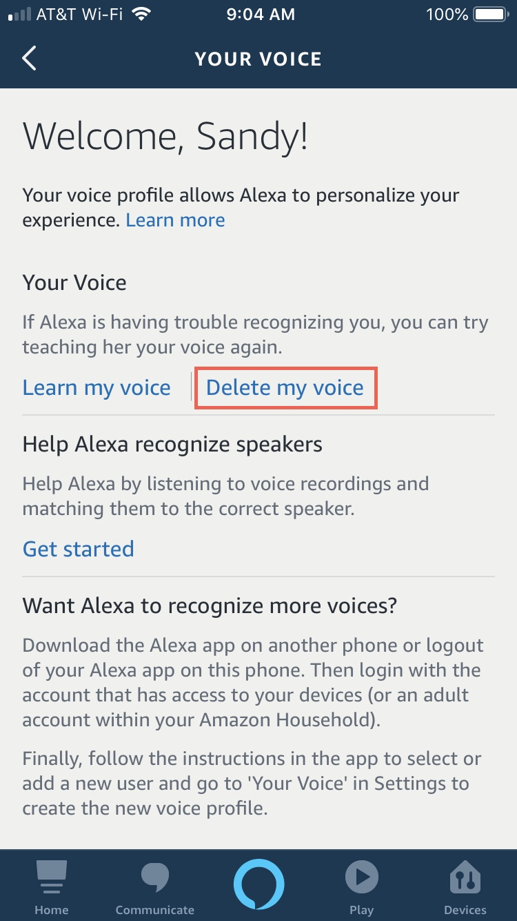 Alexa app Your Voice Delete My Voice