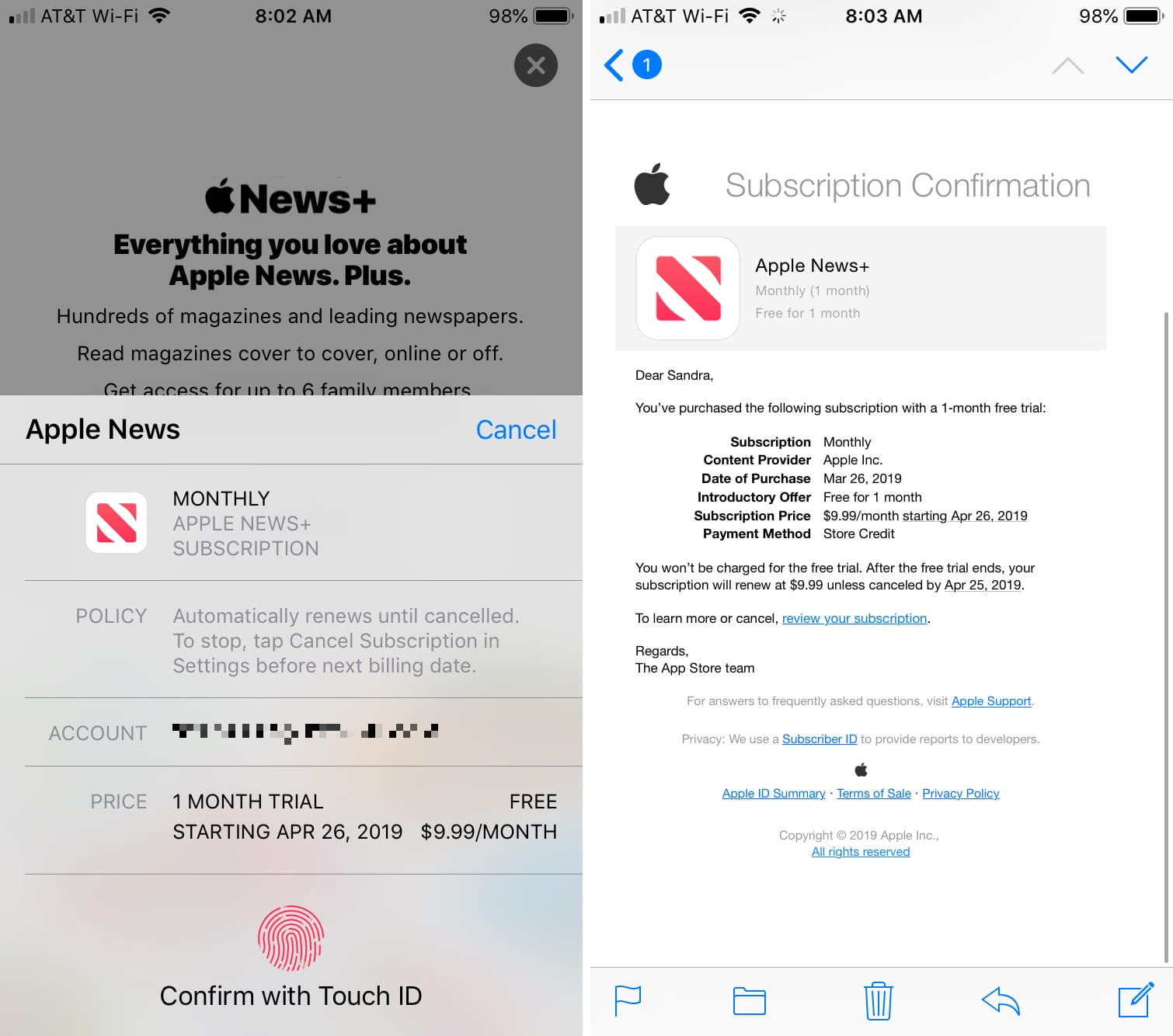 Apple News Plus Subscribe and Confirm iPhone