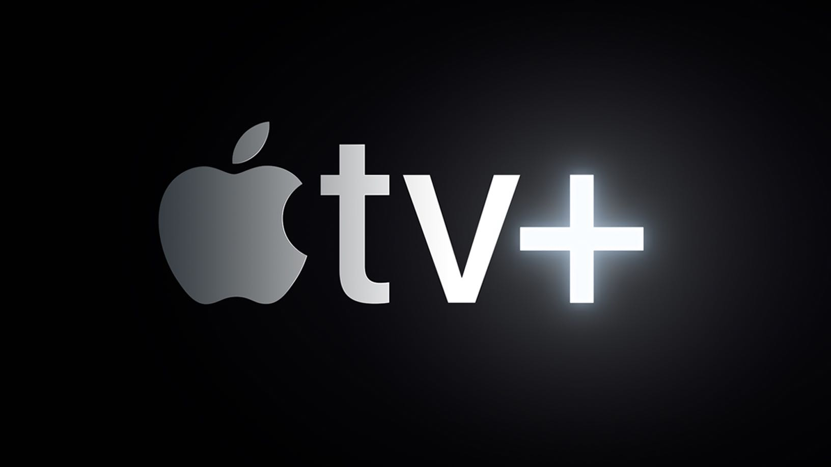 A scene from the Apple TV+ opening intro showing an Apple TV+ glowing logo set against a black background