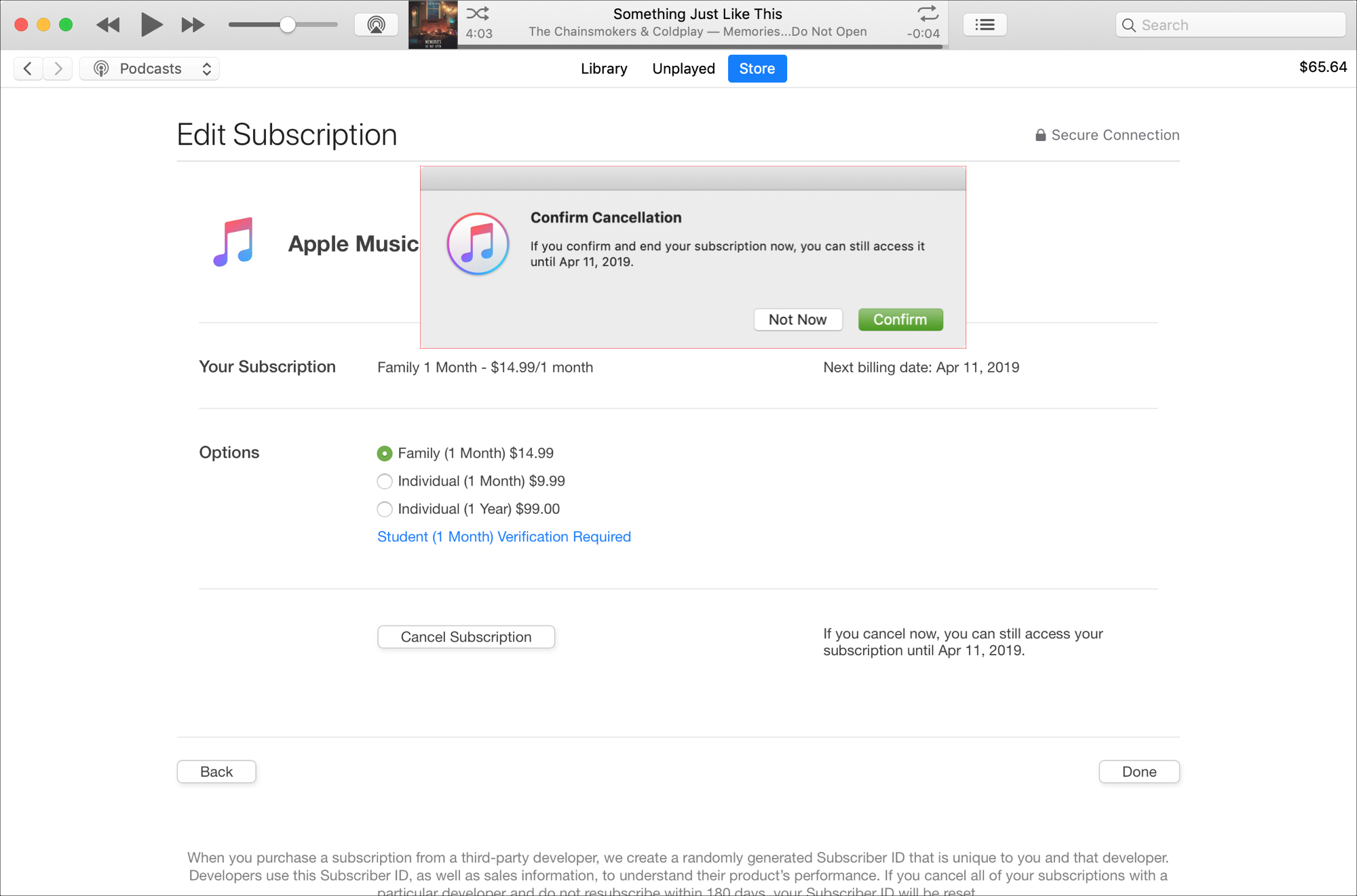 Cancel Apple Music Subscription iTunes on Mac