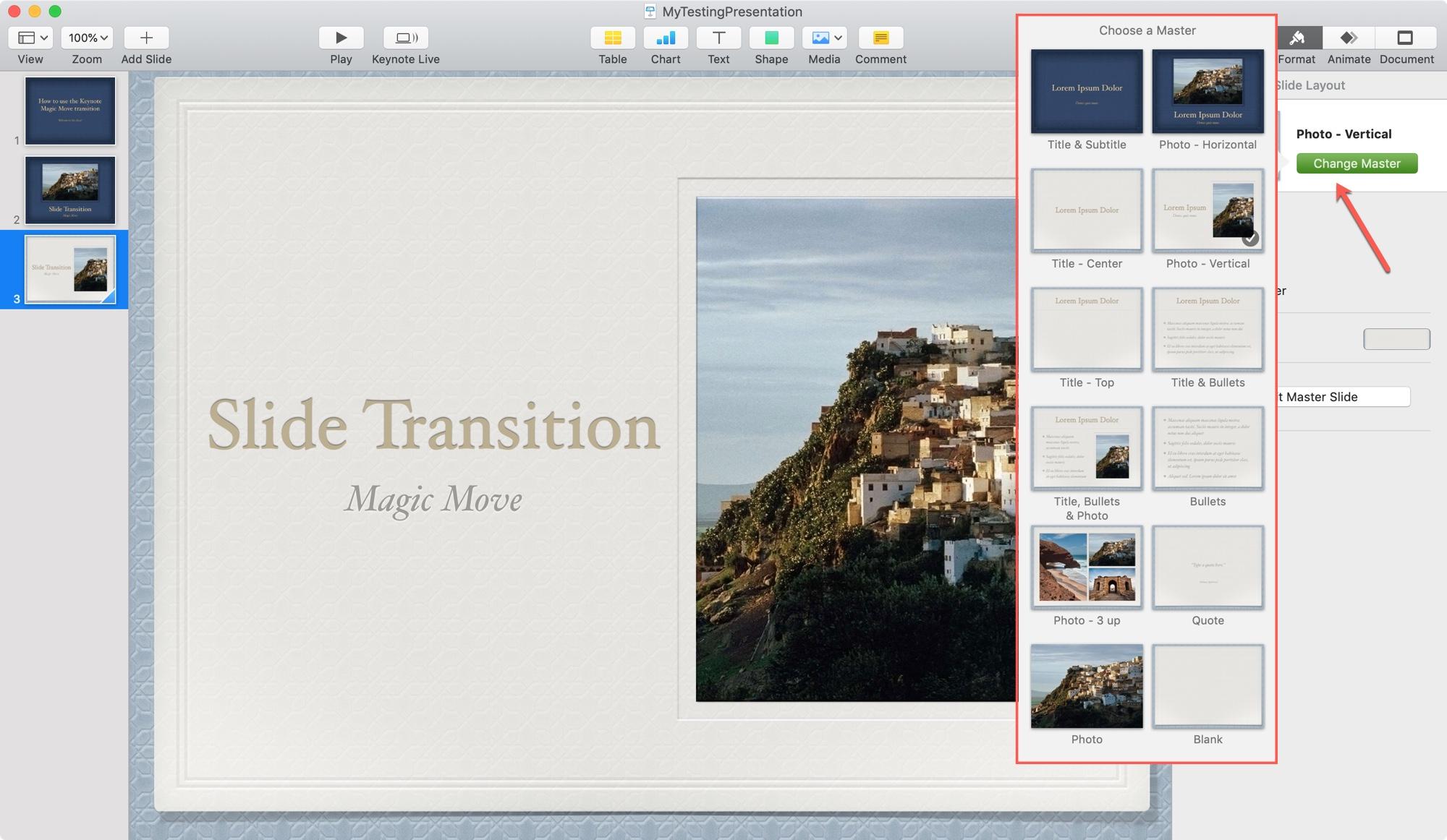Cambiar la presentación de diapositivas de Keynote en Mac
