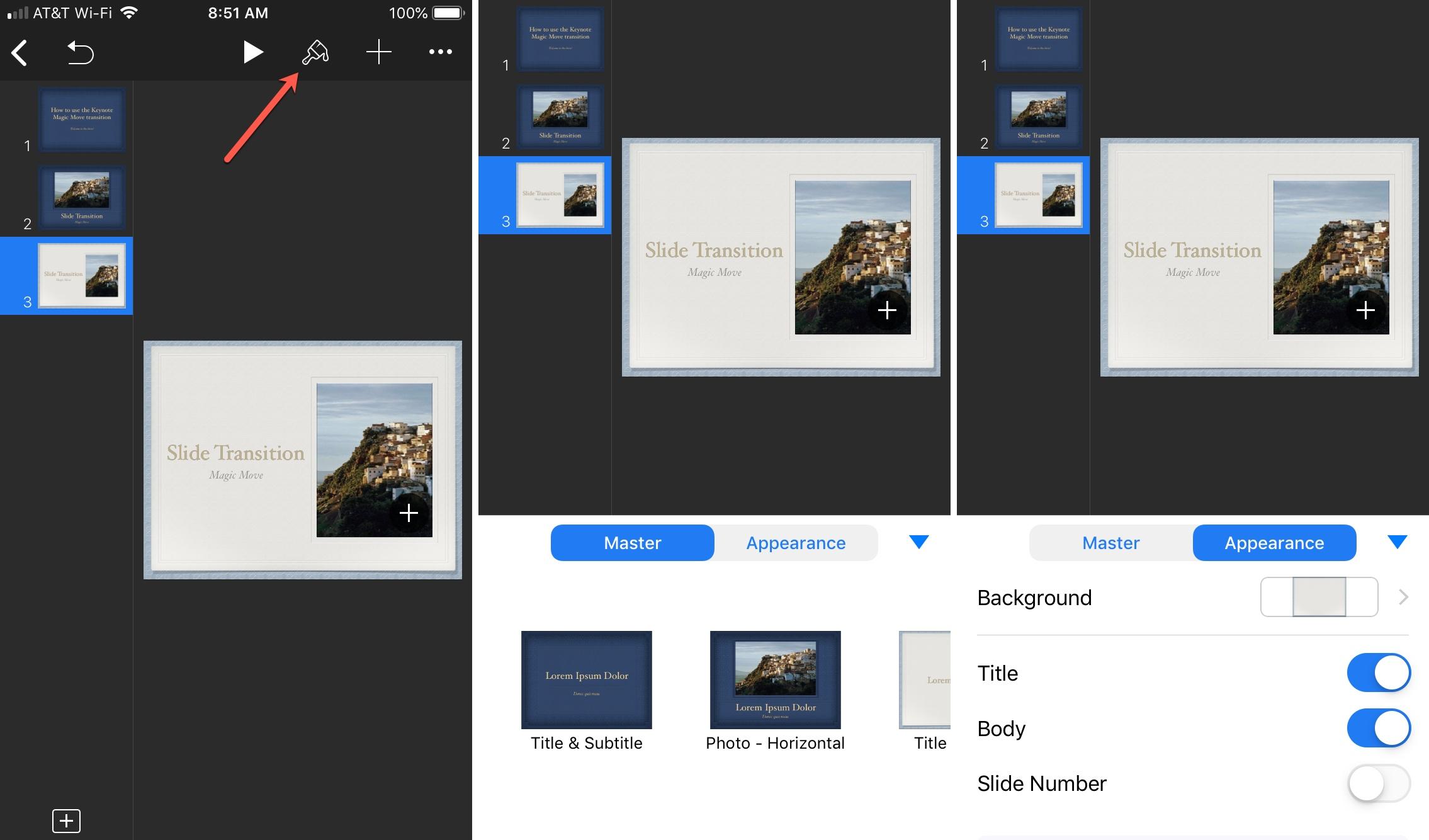 Cambiar la presentación de diapositivas de Keynote en iPhone