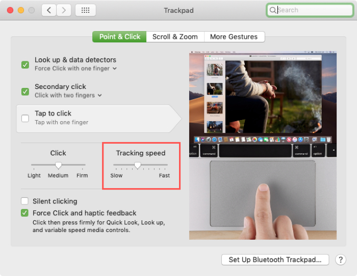 Change Tracking Speed for Trackpad on Mac