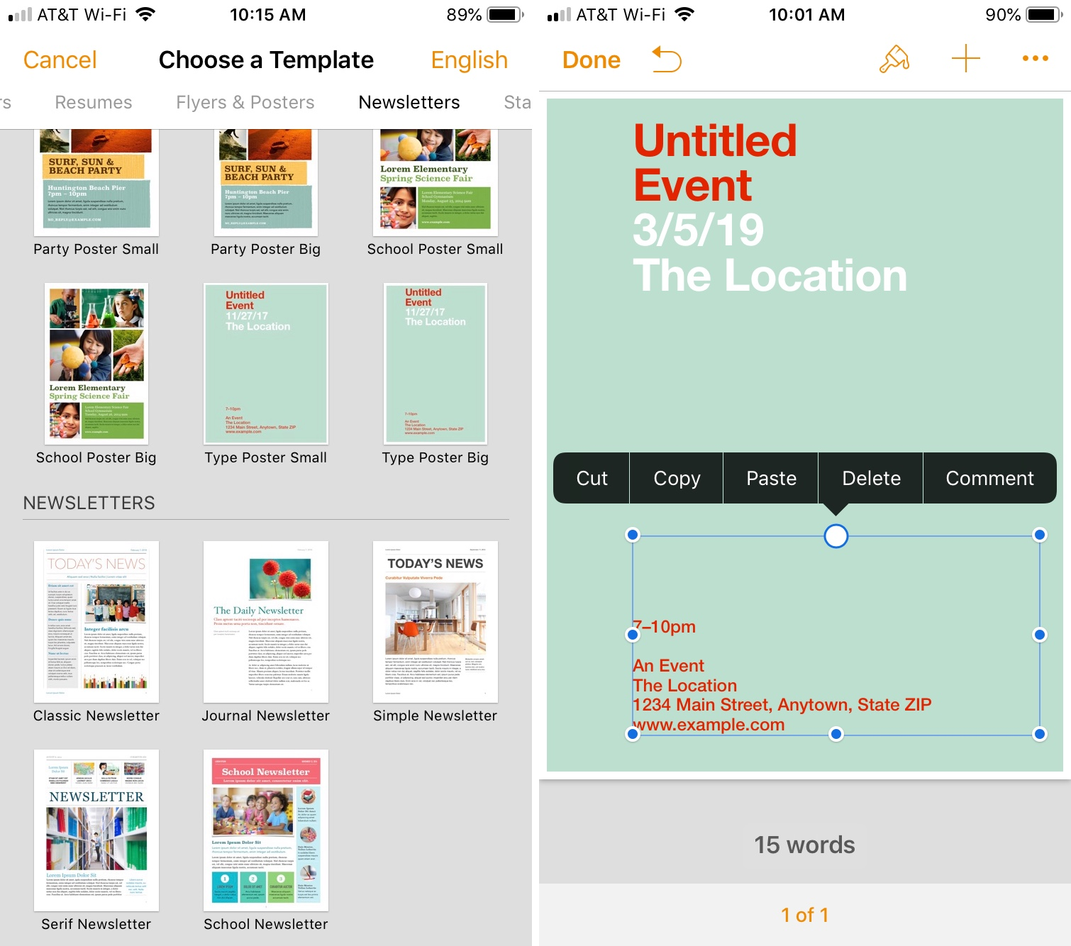 Choose Page Layout Document iPhone Pages