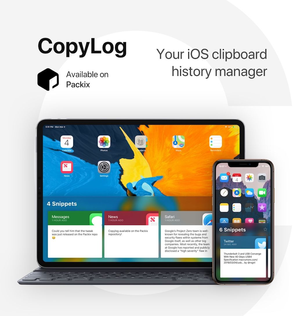 CopyLog: A full-fledged Clipboard manager for jailbroken iOS