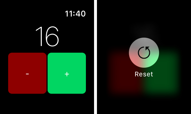 Countr app on Apple Watch