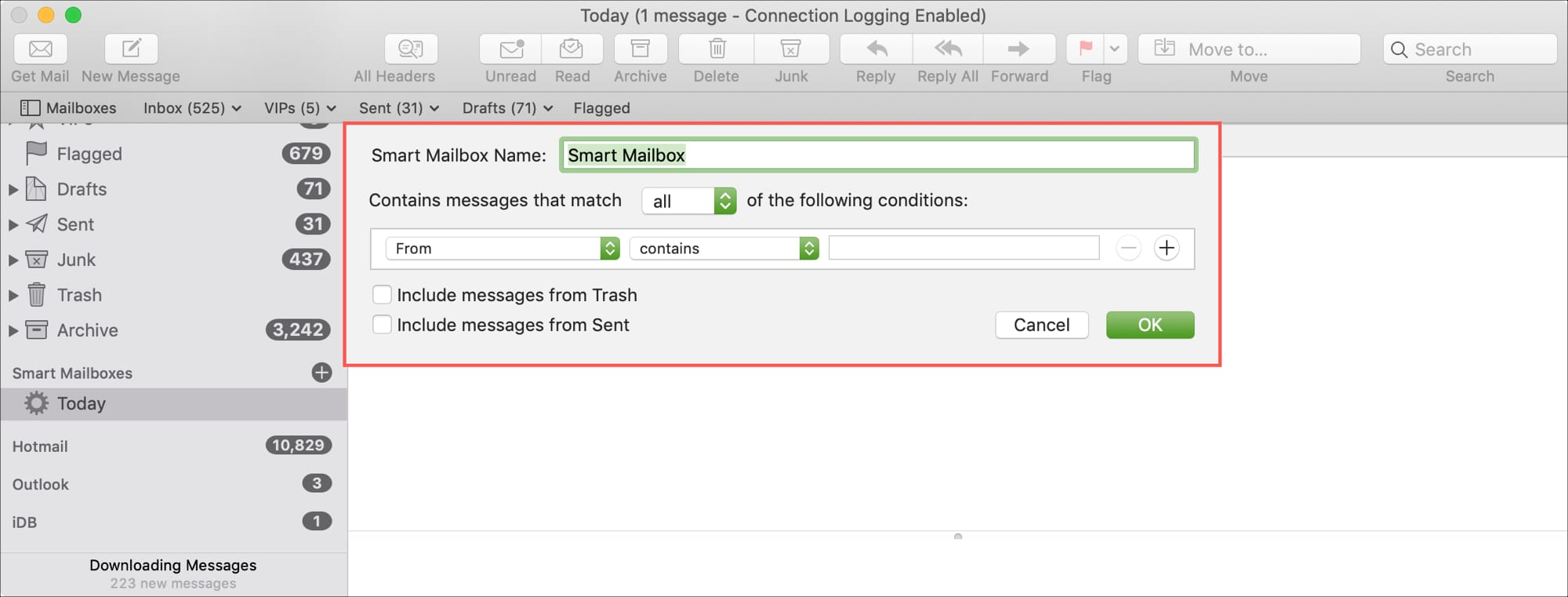 Create Smart Mailbox in Mail on Mac