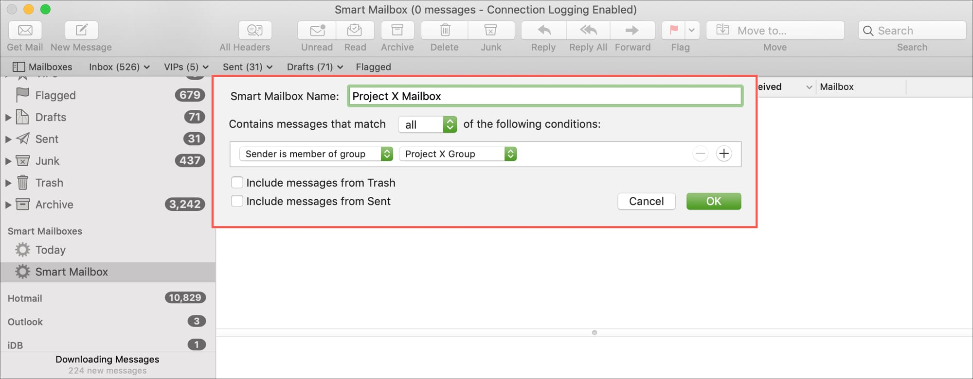 Created Smart Mailbox in Mail on Mac