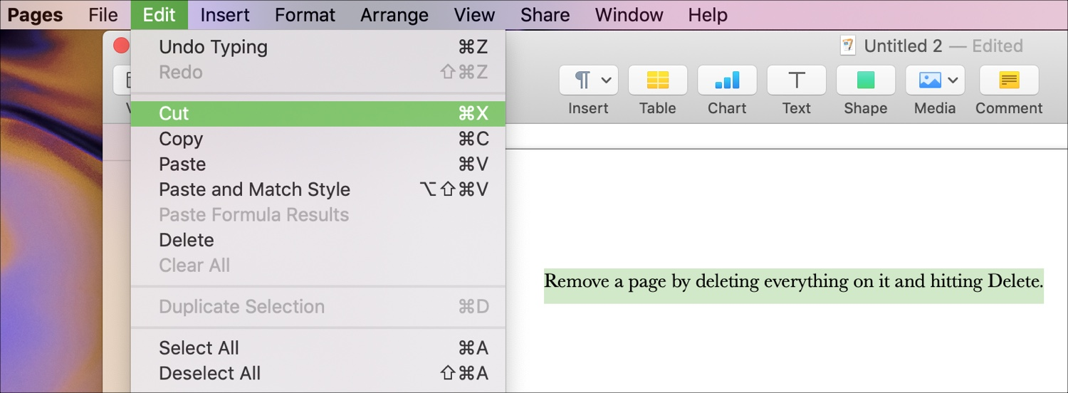 Delete Pages Word Processing doc Mac