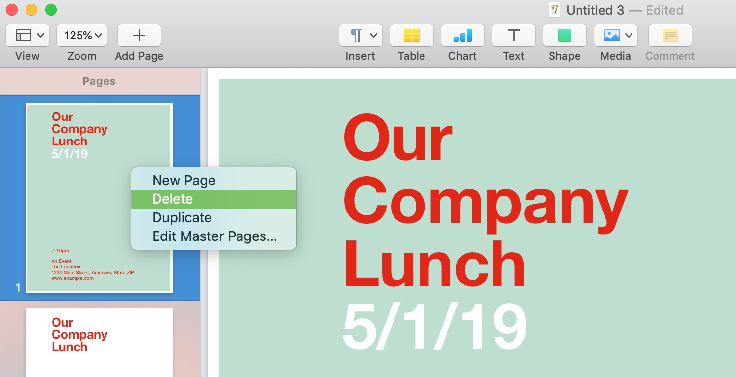 Delete Pages in Page Layout Mac