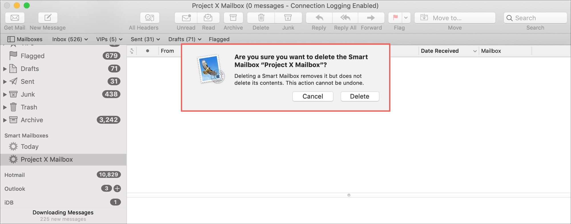 Delete Smart Mailbox in Mail on Mac