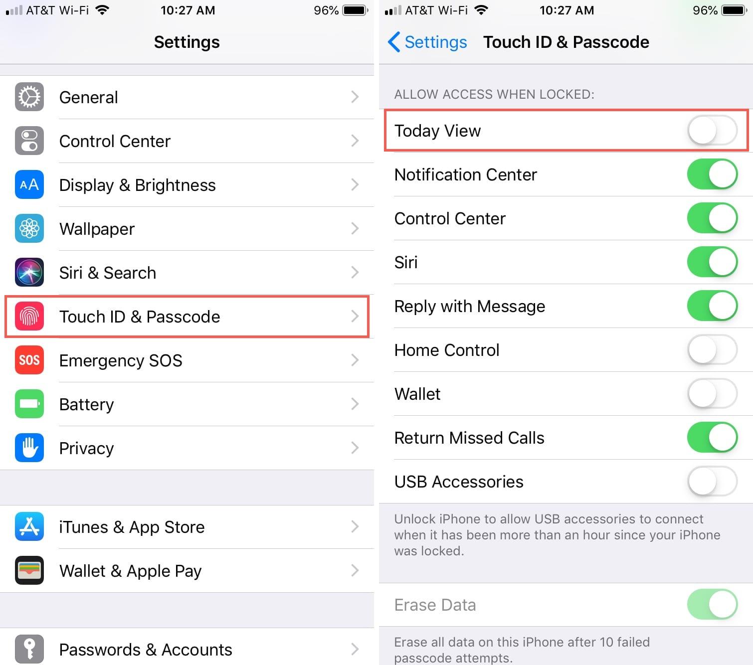 Deshabilitar la vista de hoy en la pantalla de bloqueo del iPhone
