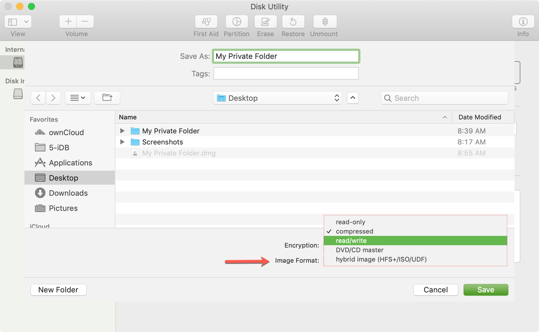 Disk Utility Choose Image Format Mac