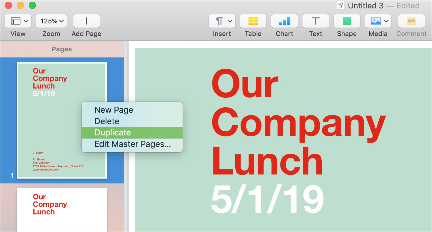 Duplicate Pages in Page Layout Mac