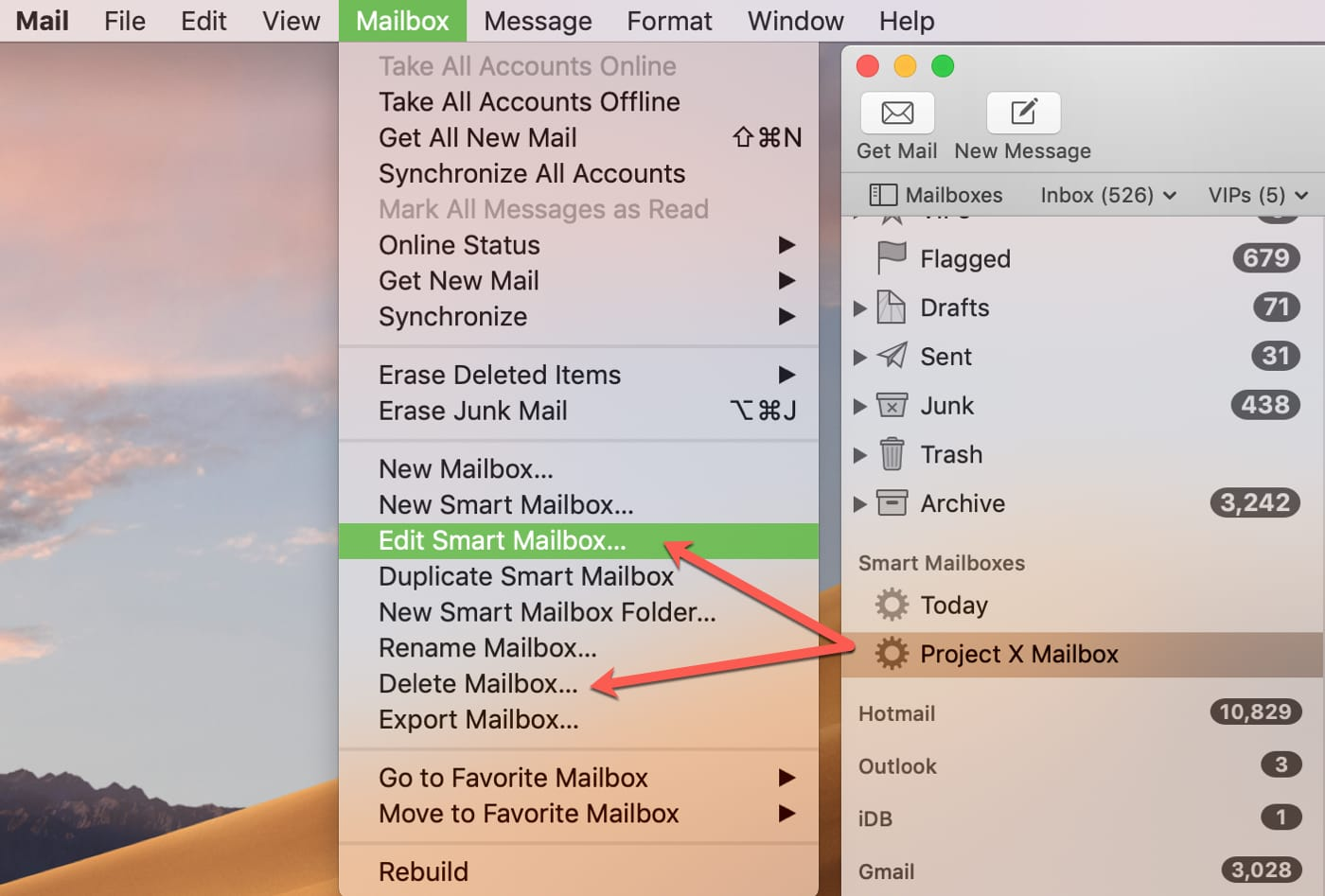 Edit Delete Smart Mailbox in Mail on Mac