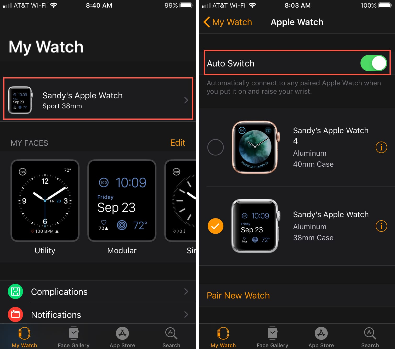 Enable Auto Switch on iPhone for Apple Watch