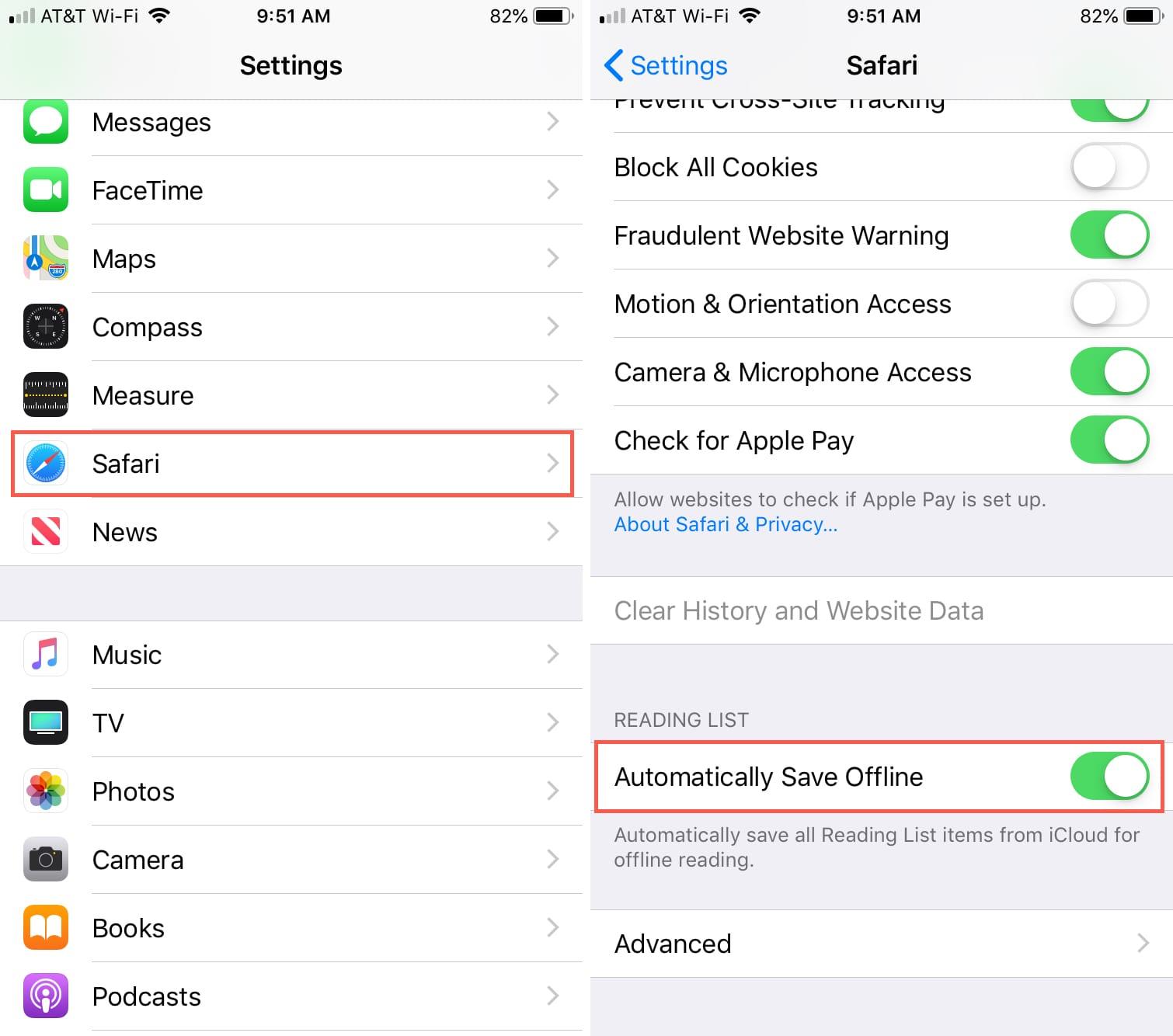 Habilitar lista de lectura de Safari fuera de línea iPhone