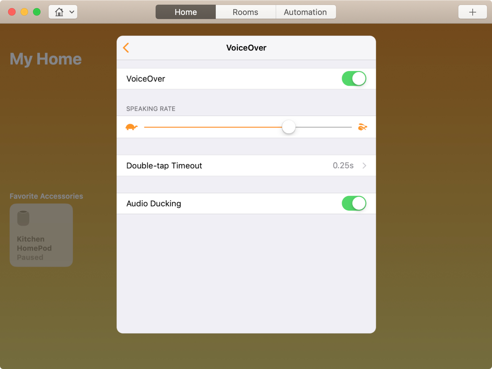 Habilitar VoiceOver para HomePod en Mac