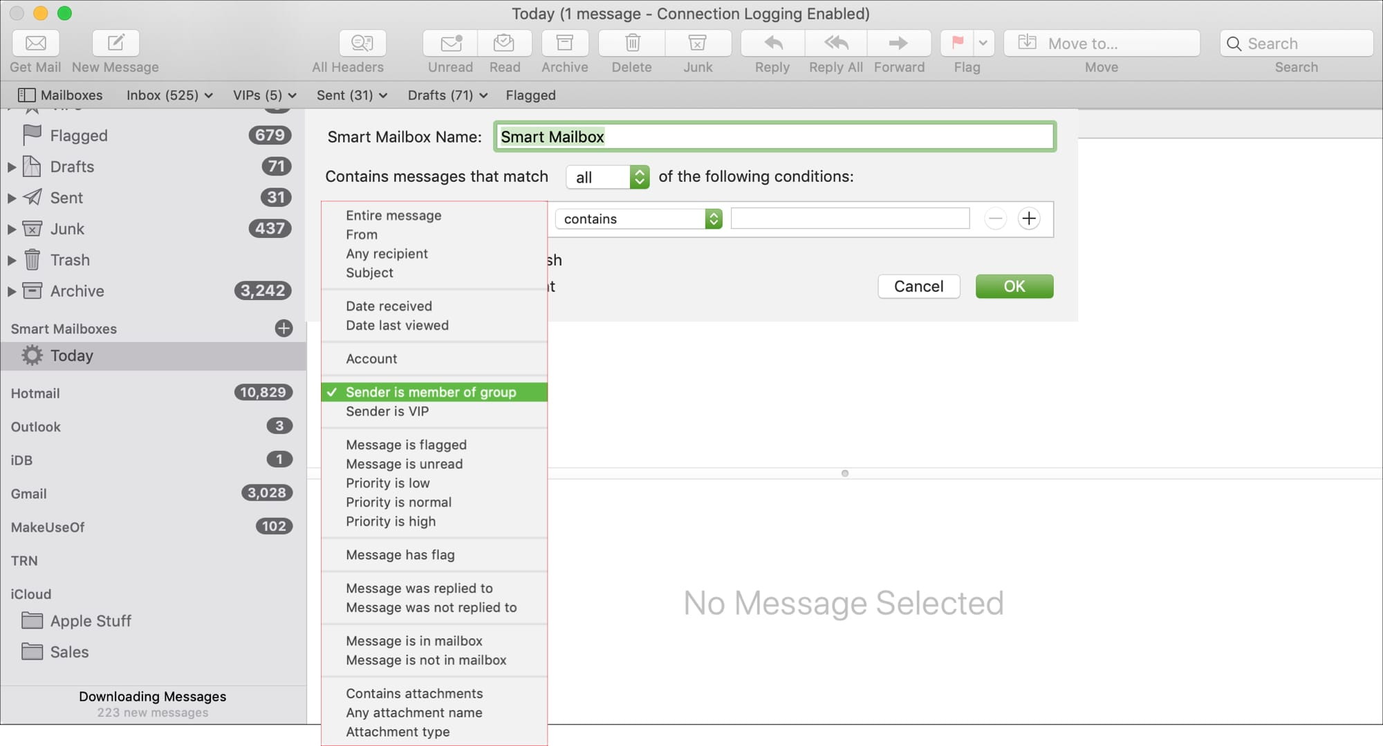 First Condition Smart Mailbox in Mail on Mac