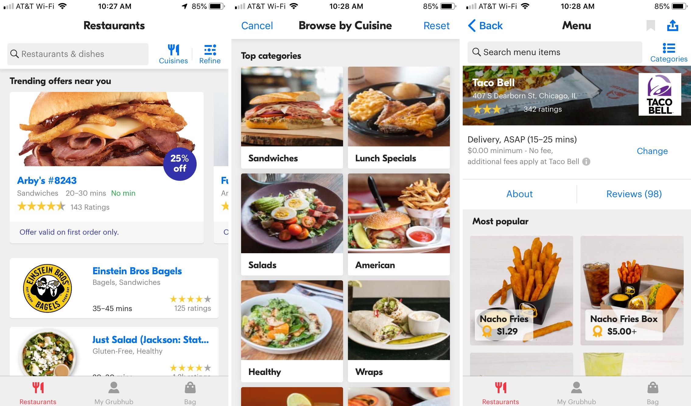 Aplicación GrubHub en iPhone
