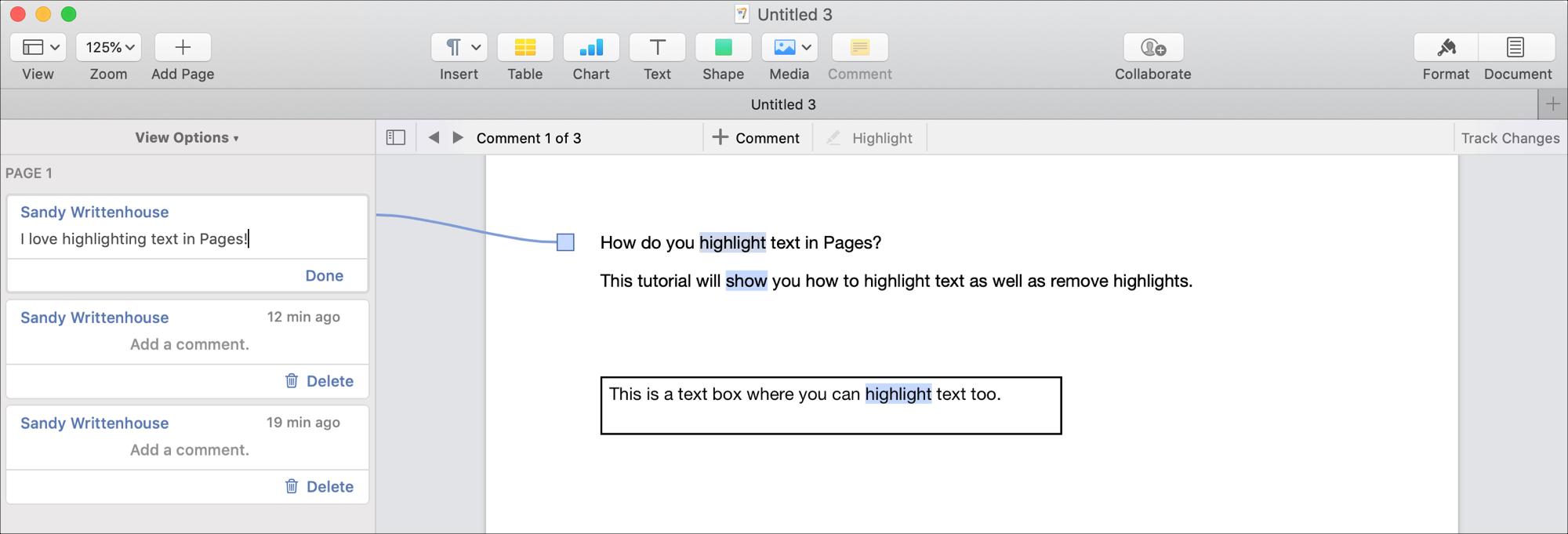 Resaltar comentarios de texto en páginas en Mac