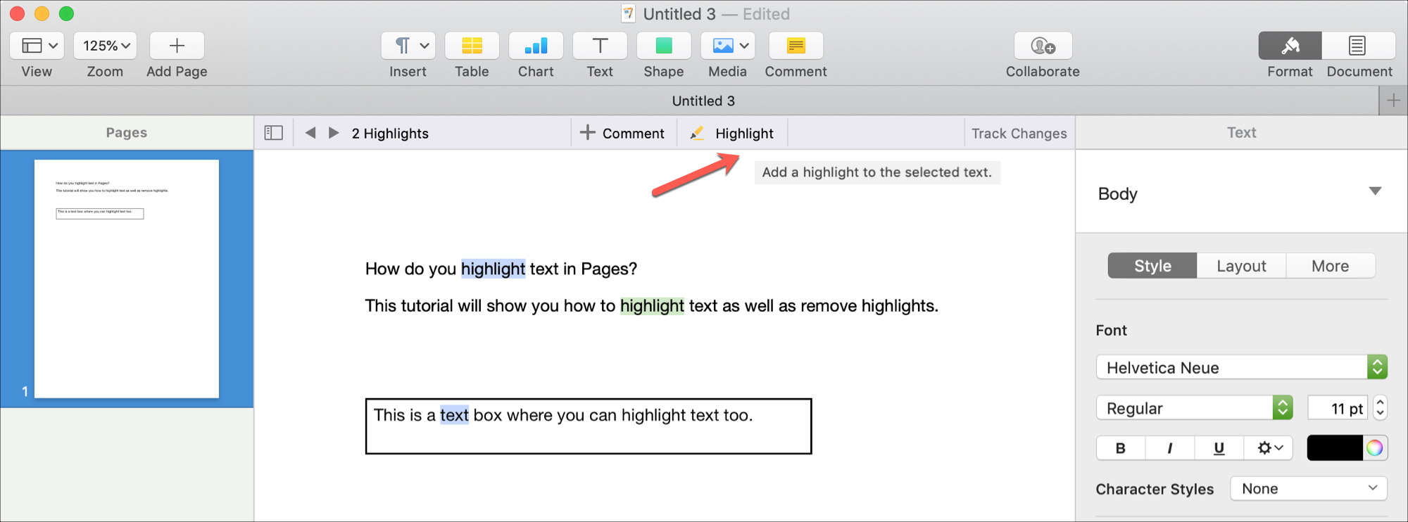 Highlight text in Pages on Mac Review Toolbar