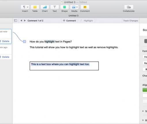 Highlight text in Pages on Mac with Comments