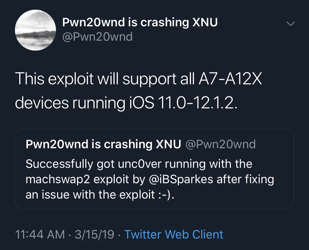 Pwn20wnd says machswap2 exploit is coming to unc0ver with support for A7-A12(X) devices