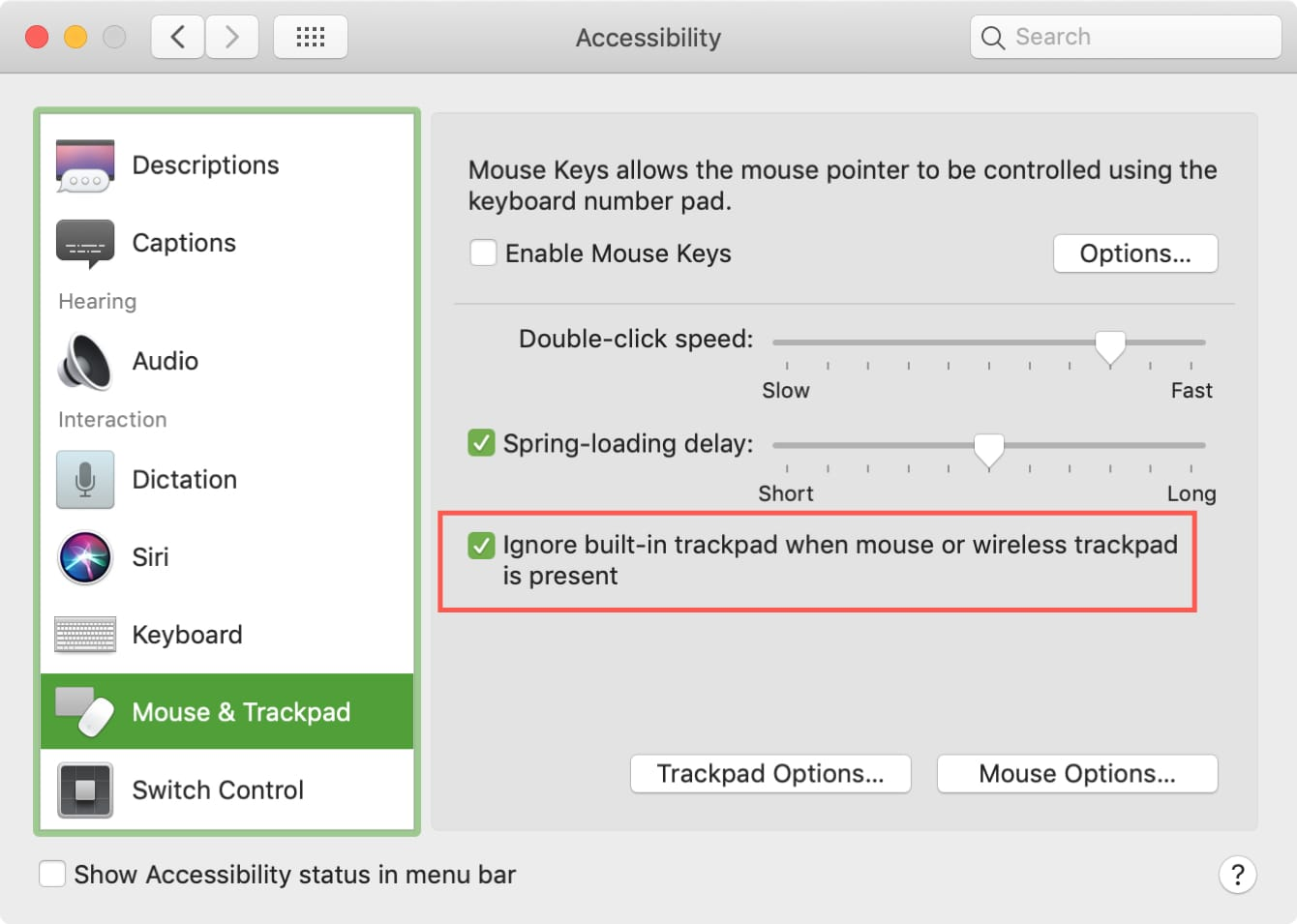 Ignore trackpad when mouse connected MacBook