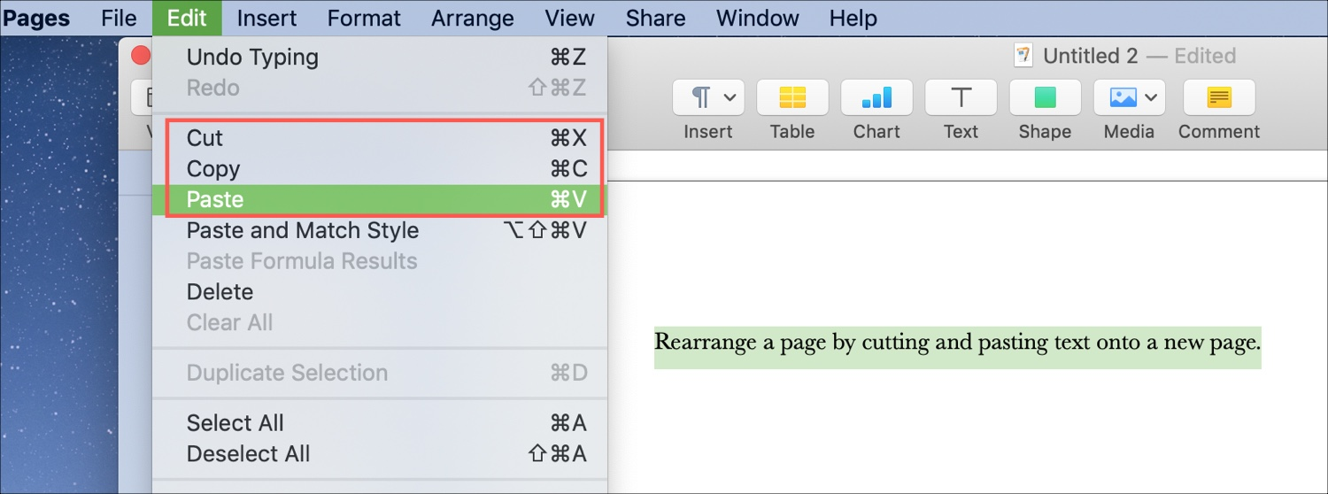 Rearrange Pages Word Processing doc Mac