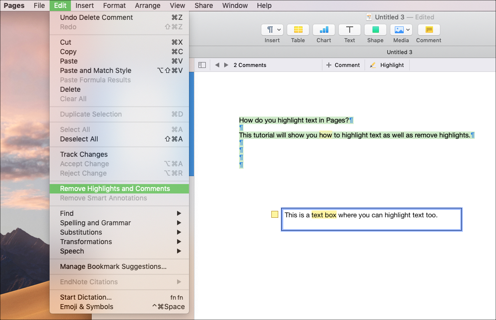 Eliminar texto resaltado en páginas en Mac
