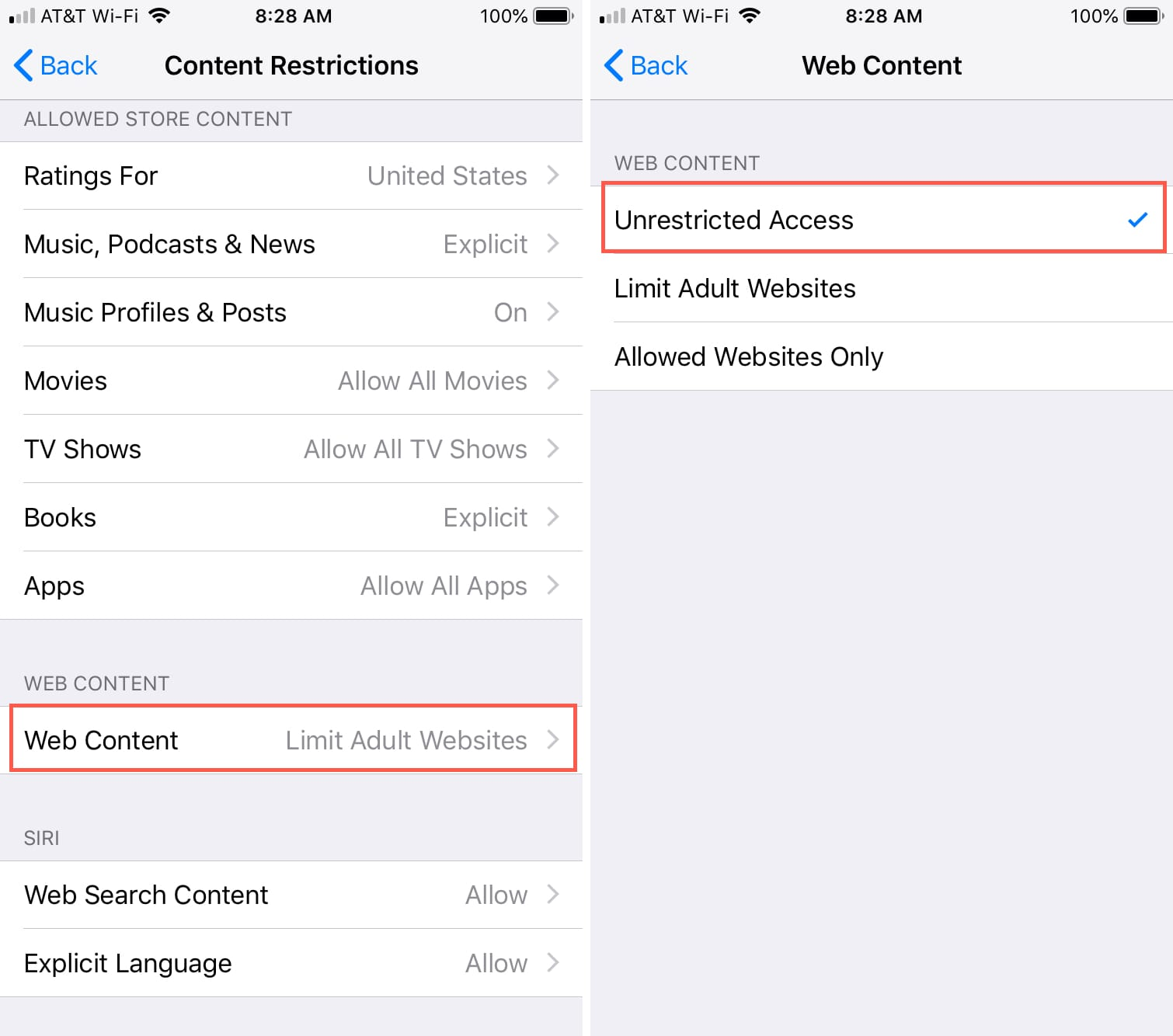 Screen Time Content Restriction Unrestricted iPhone