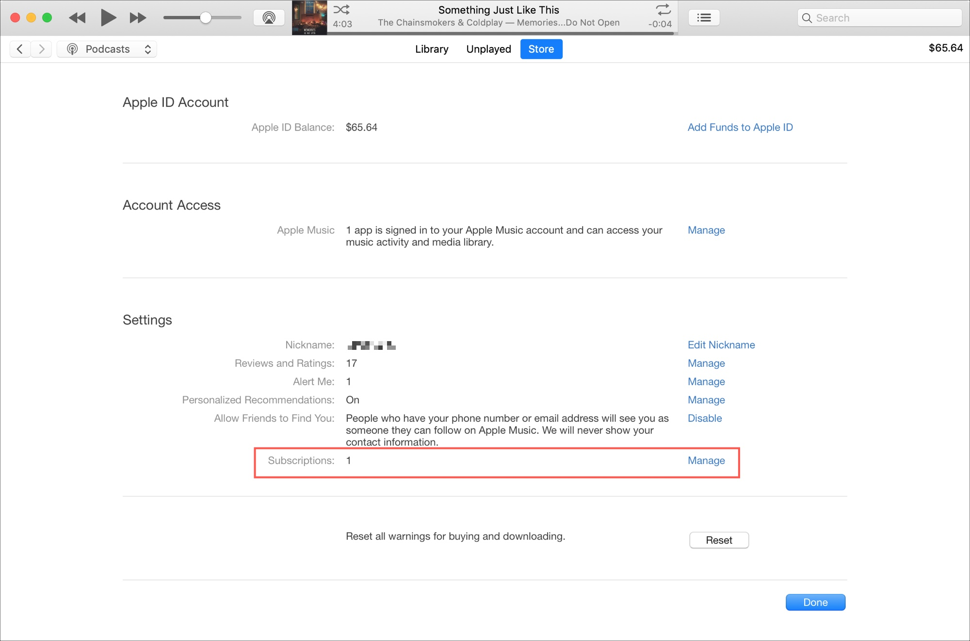 Subscriptions in iTunes on Mac