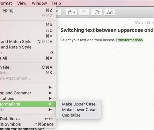 Transformations Menu Bar on Mac