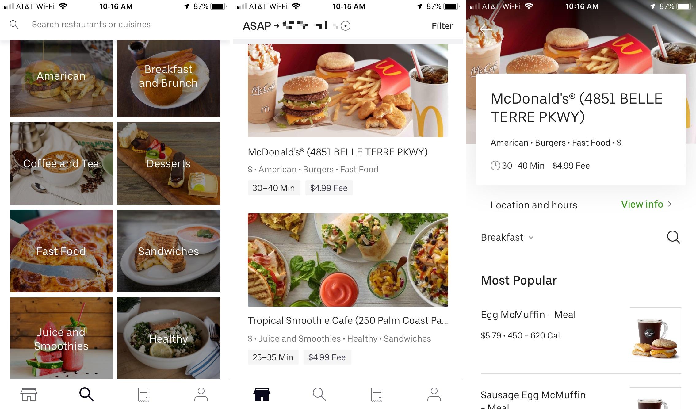 Aplicación Uber Eats en iPhone