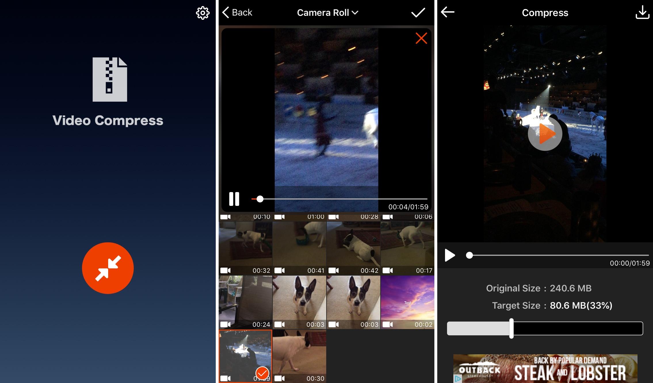 Aplicación de Video Compress en iPhone