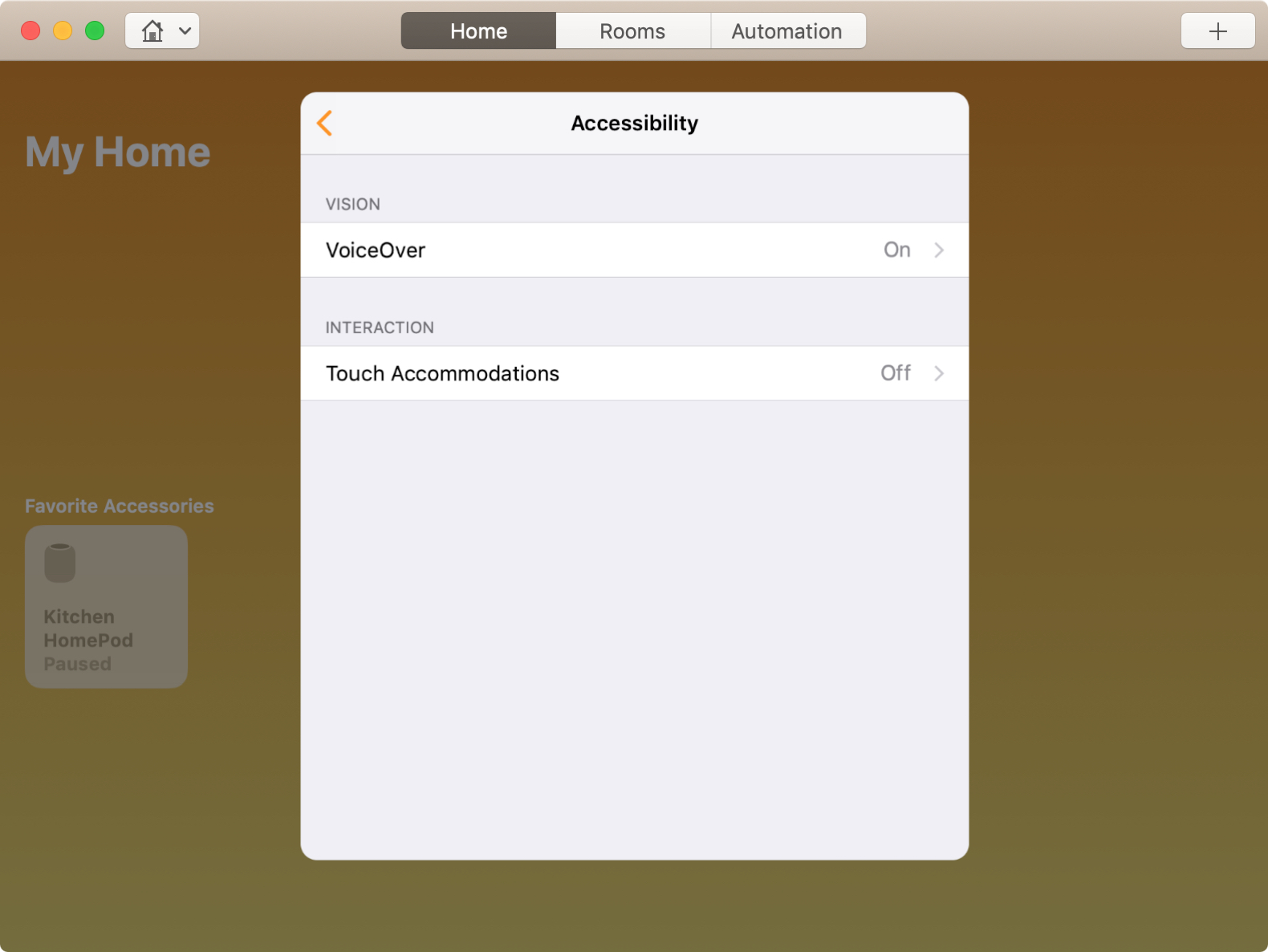 VoiceOver Enabled for HomePod on Mac