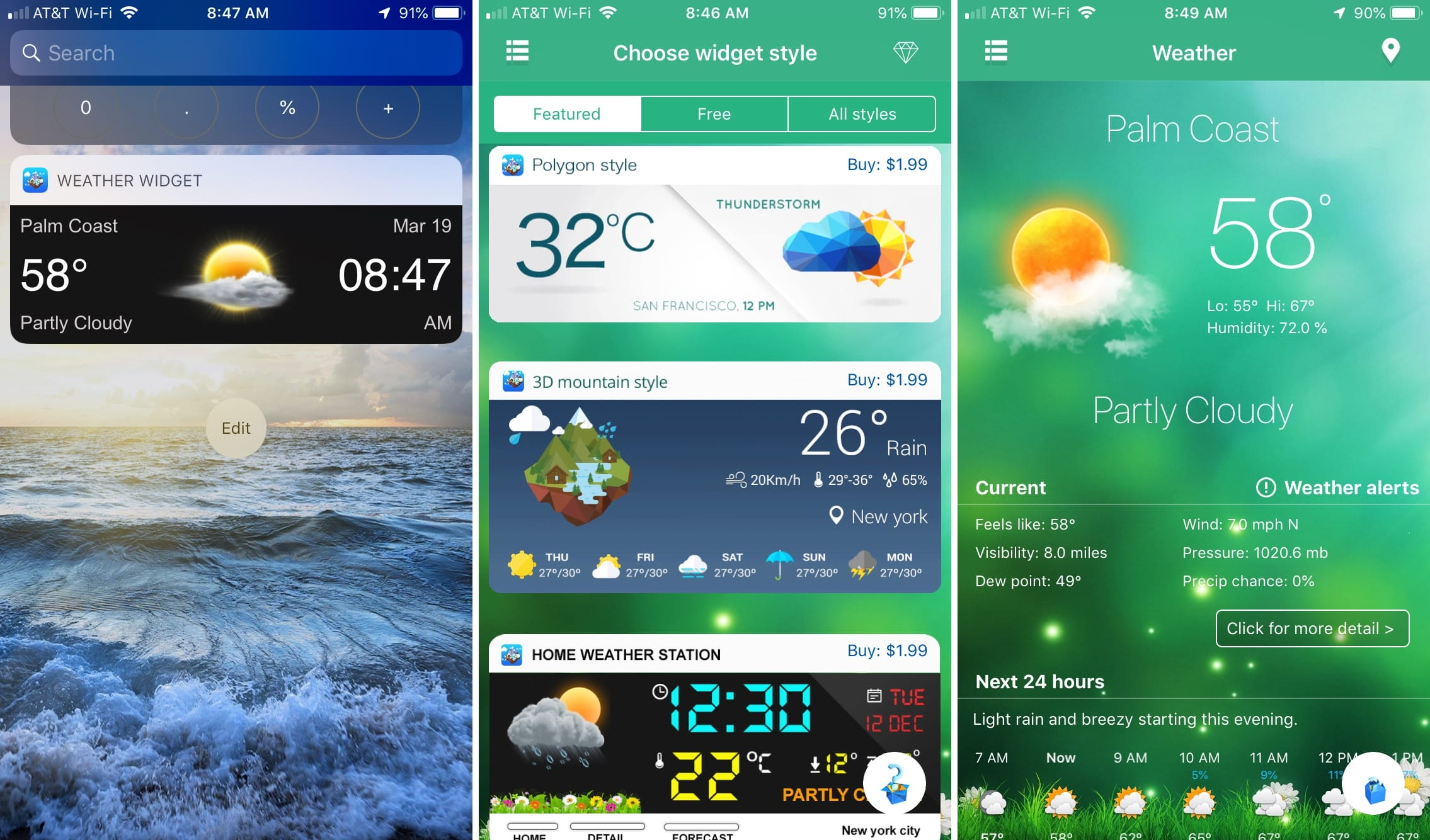 Weather Widget on iPhone