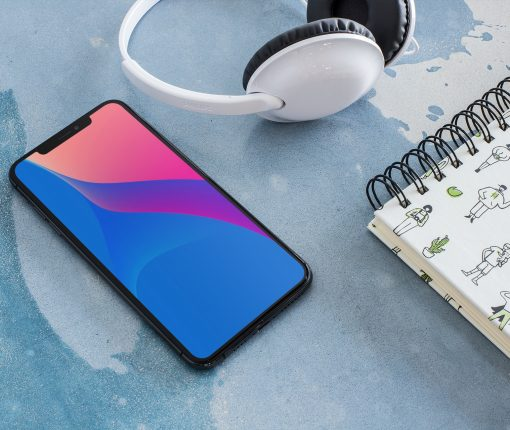 iphone-x-mockup-for-podcasts-featuring-a-pair-of-white-headphones-24717 ar72014 abstract color wallpaper