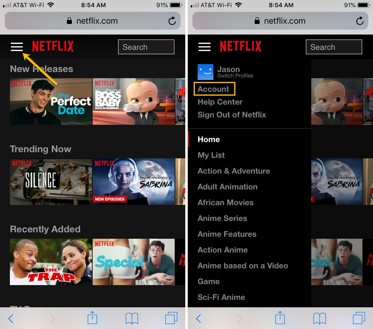 Account Settings Netflix on iPhone