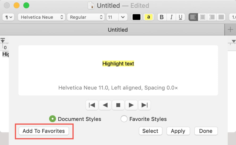 Add Highlighted Text Style to Favorites